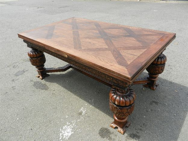 10ft English Oak Refectory Table - 3 Metre Jacobean Revival Carved Oak Drawleaf Refectory Table