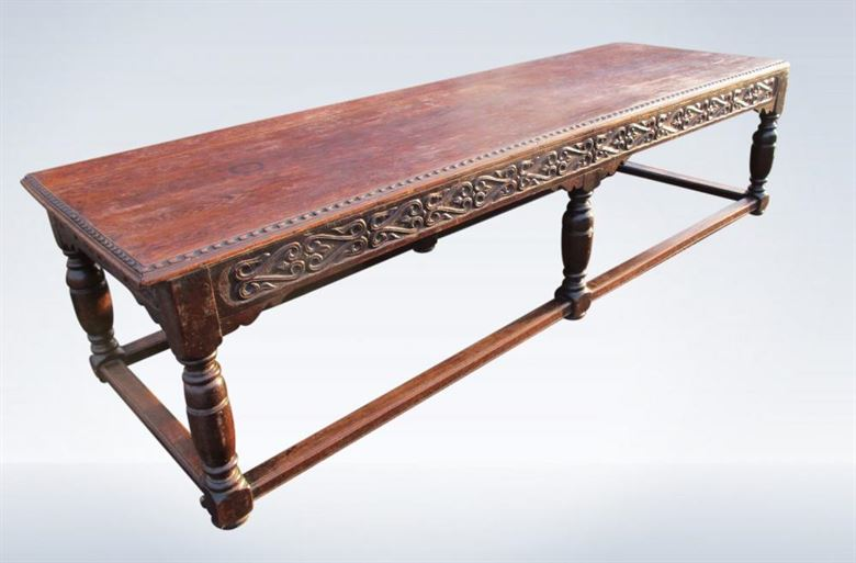 10ft Antique Jacobean Oak Refectory Table 19th Century