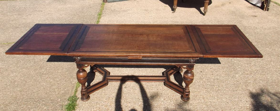 10ft Antique Oak Extending Refectory Table - 3 Metre Victorian Oak Drawleaf Refectory Table With Ebonising