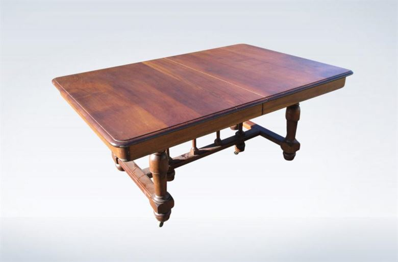 10ft Victorian Walnut Dining Extending On Pedestal Bases