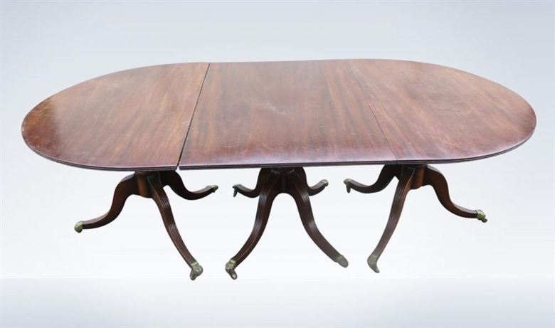12ft 4 Metre Regency Mahogany Triple Pedestal Dining Table