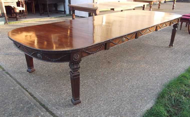 12ft Georgian Design Antique Dining Table - Large Adams Styled Late 19th Century Mahogany Extending Table Seat 14 To 16 People
