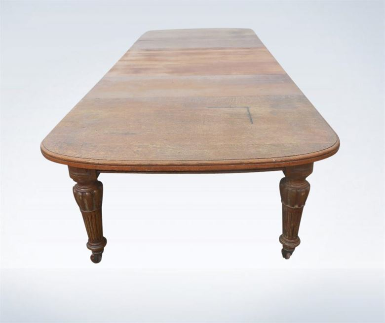 12ft Antique Oak Extending Dining Table From Late Victorian 19th Century Period