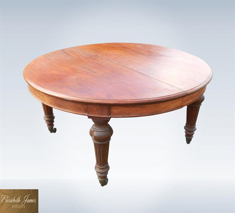 ANTIQUE ROUND DINING TABLES UK IN OUR ANTIQUE FURNITURE  : 12ft antique Victorian Round Extending Dining Table In Solid Figured Mahogany 48 P1 from www.elisabethjamesantiques.co.uk size 1000 x 910 jpeg 51kB