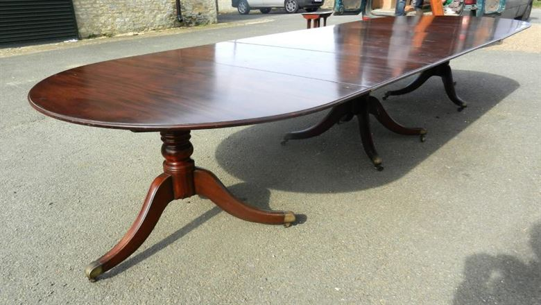 14ft Regency Revival Triple Pedestal Antique Mahogany Dining Table