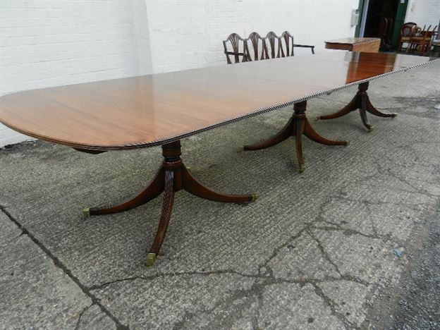 15ft Regency Mahogany Dining Table - Regency Revival Triple Pedestal Mahogany Dining Table