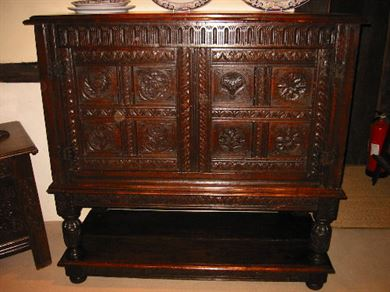 17th Century Oak Furniture   Antique 17th Century Oak Carved Court Cupboard