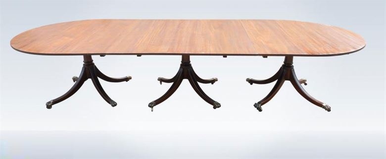 18ft 19th Century Regency Antique Mahogany Pedestal Dining Table