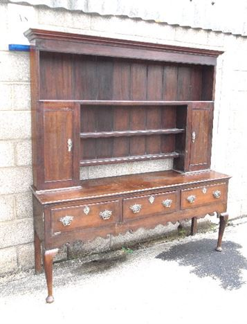 18th Century Georgian Oak Dresser - George I Period Oak Dresser With Rack