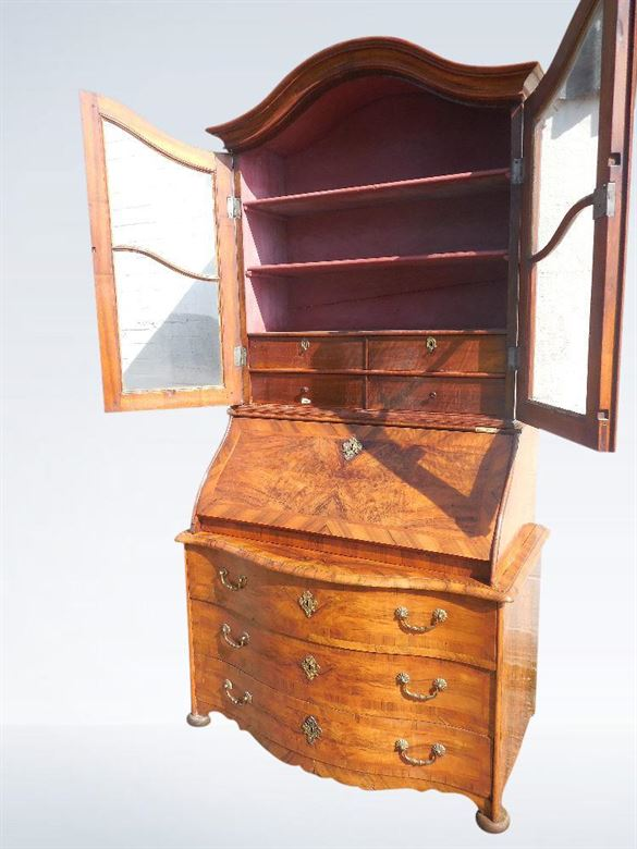 Antique Bookcase - 19th Century Biedermeier Walnut Bureau Bookcase