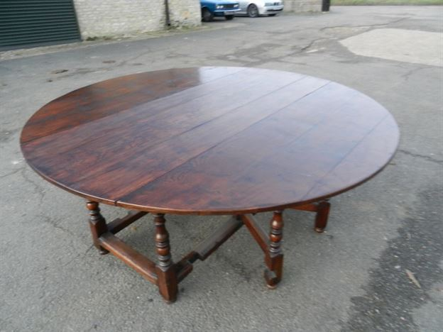 2 Metre Round Antique Table - Large Round Oak 17th Century Manner Drop Leaf Farmhouse Table