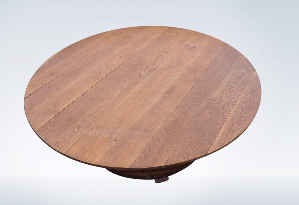 2 Metre Antique Oak Round Table Arts Crafts Circular