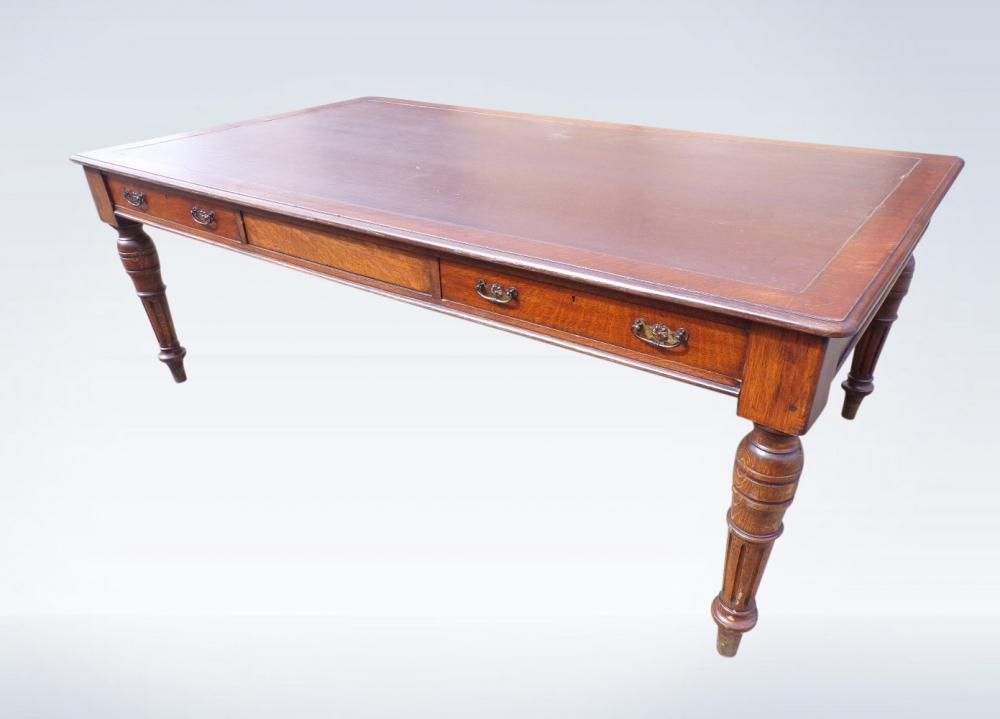 2 Metre Antique Partners Library Desk Victorian Oak Leather Top