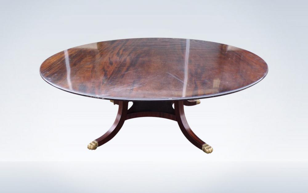 2 Metre Diameter Circular Antique Dining Table Regency Manner Mahogany
