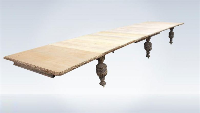 22ft Late Victorian Jacobean Oak Carved Extending Dining Table