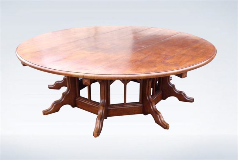 240cm 8ft Round Antique Dining Table Of Gothic Oak Design ON Centre Pedestal Base