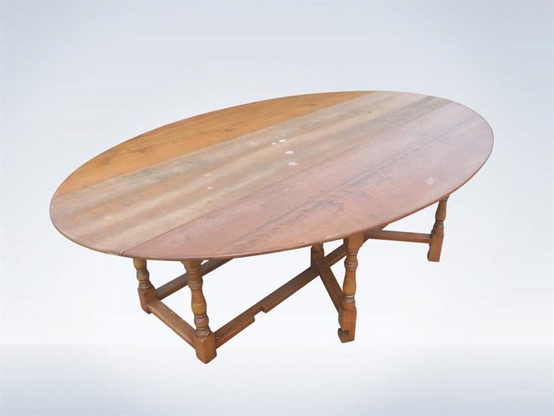 3 Metre Jacobean Design Antique Oval Formed Drop Leaf Wake Table