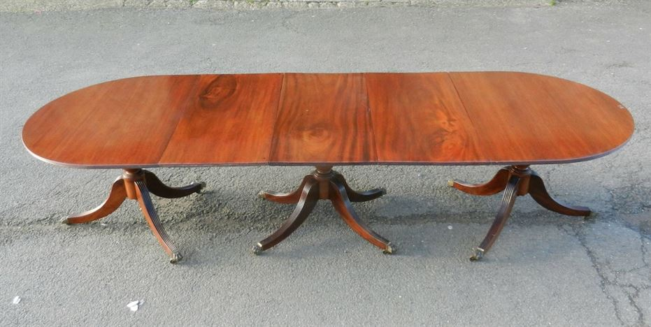 3 Metre Antique Regency Table - 10ft Regency Revival Mahogany Triple Pedestal Dining Table To Seat 12 People