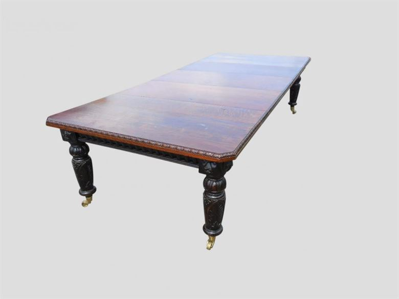 3 Metre Antique Dining Table | 17th Century Jacobean Influenced Carved Oak Victorian Extending Dining Table
