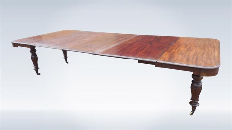 3 Metre Antique Dining Table - Large Post Regency Mahogany Extending Dining Table To Sea 14 People