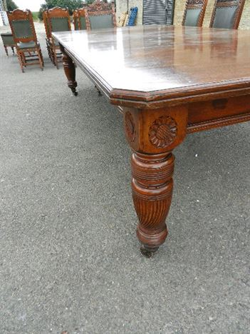 3 Metre Antique Oak Table - 10ft Late Victorian Maples Design Extending Oak Dining Table