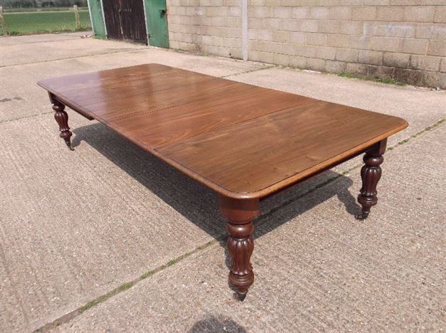3 Metre Antique Dining Table - Early Victorian Extending Mahogany Dining Table To Seat 12/14 People