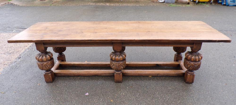 3 Metre Tudor Revival Oak Refectory Table - 19th Century