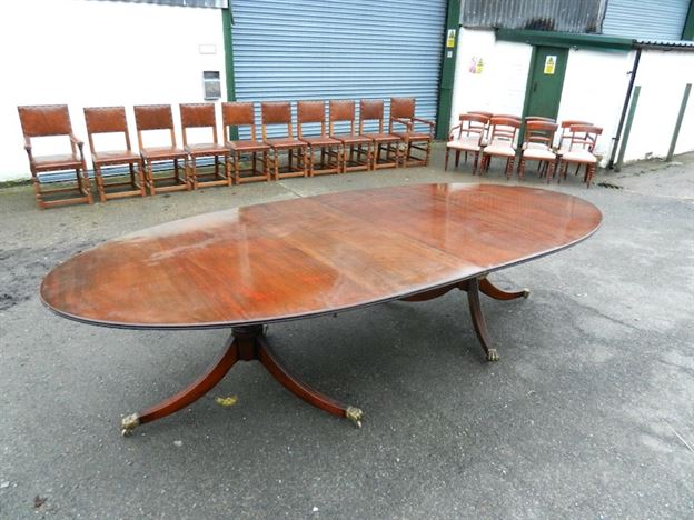 4 Metre Antique Regency Dining Table - 12ft Oval Formed Regency Revival Mahogany Twin Pedestal Dining Table