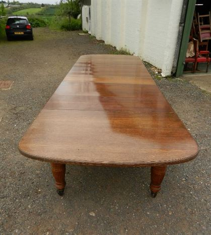 5 Metre Victorian Dining Table - 15ft Late 19th Century Victorian Oak D Ended Extending Dining Table
