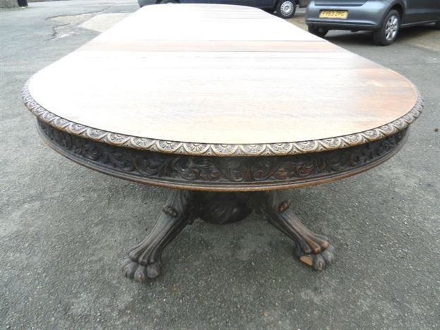5 Metre Antique Oak Round Extending Table - 16ft Late Victorian Jacobean Carved Oak Round Extending Dining Table