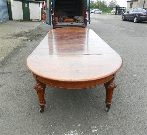 5 Metre Antique Victorian Dining Table -  Original 15ft Mid Victorian Oak Extending Dining Table To Seat 18 To 20 People.