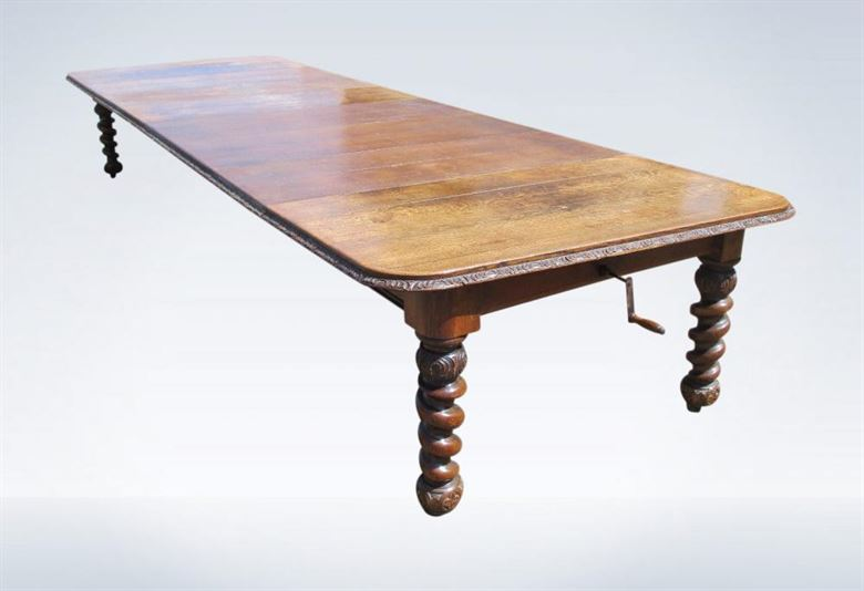 5 Metre Antique Victorian Oak Dining Table Wind Out