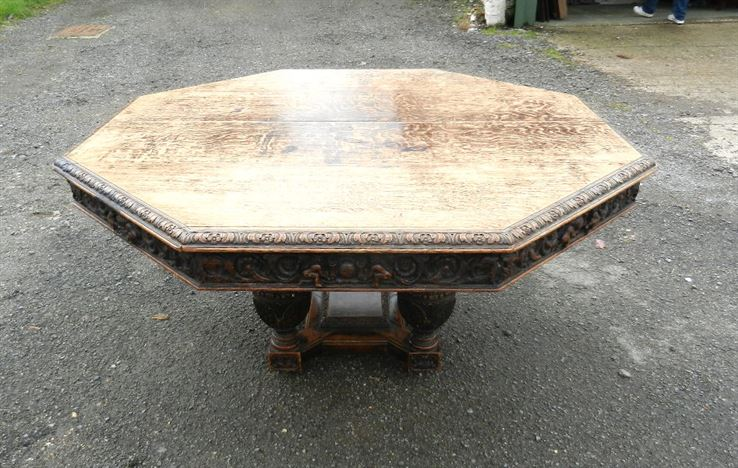 5ft Diameter Jacobean Antique Dining Table - Round Octagonal 5ft Victorian Carved Oak Centre Dining Table To Seat 8 People