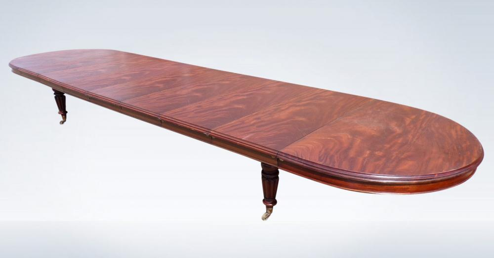 6 Metre Antique Dining Table Victorian Extending Mahogany Round End
