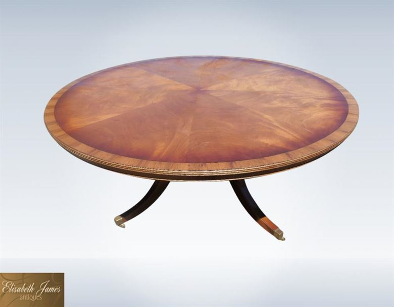 2 metre 6ft large round antique mahogany dining table for 10 seat round table