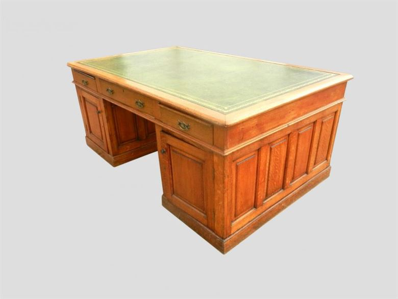 7ft Hugely Impressive Victorian Oak Antique Partners Desk - Huge Original Victorian Oak Partners Desk 7ft Wide 2.2 Metres