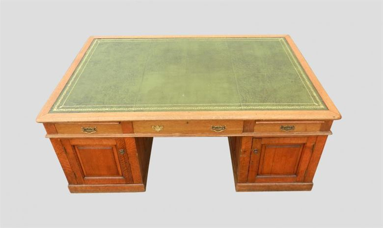 7ft Hugely Impressive Victorian Oak Antique Partners Desk