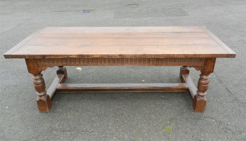 7ft Antique Oak Refectory Table - Jacobean Styled Revival Oak Plank Top Refectory Table