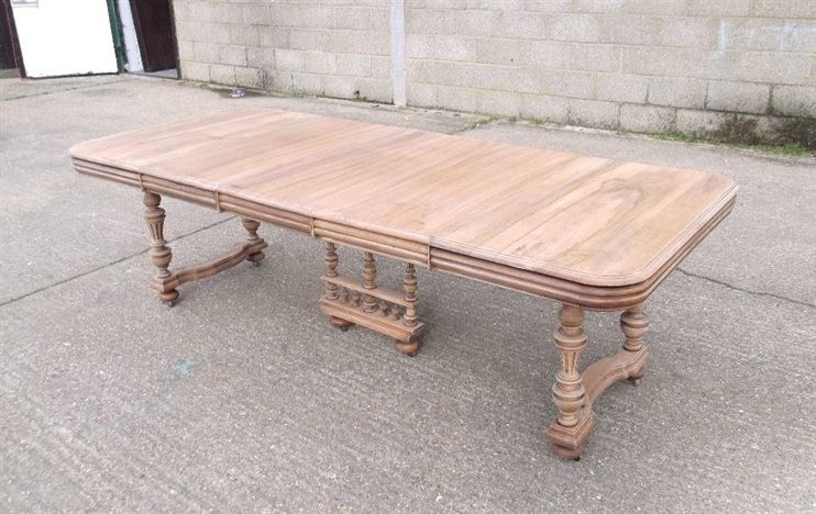 7ft Antique Refectory Table On Trestle Base