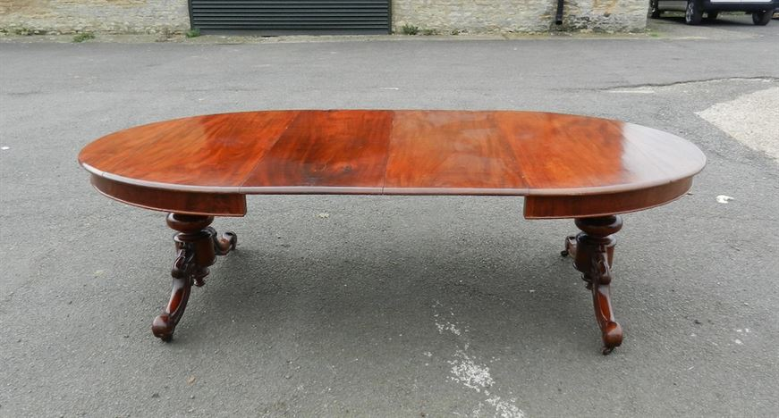 8ft Oval Extending Victorian Table - Mid Victorian Trestle Support Oval Extending Mahogany Dining Table