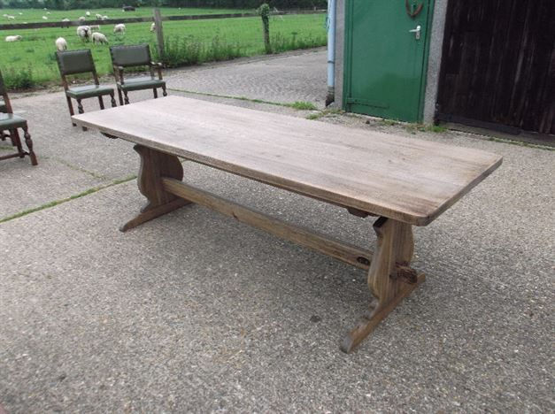 8ft Antique Oak Refectory Table - Jacobean Revival Oak Refectory Table With Tresle End Base