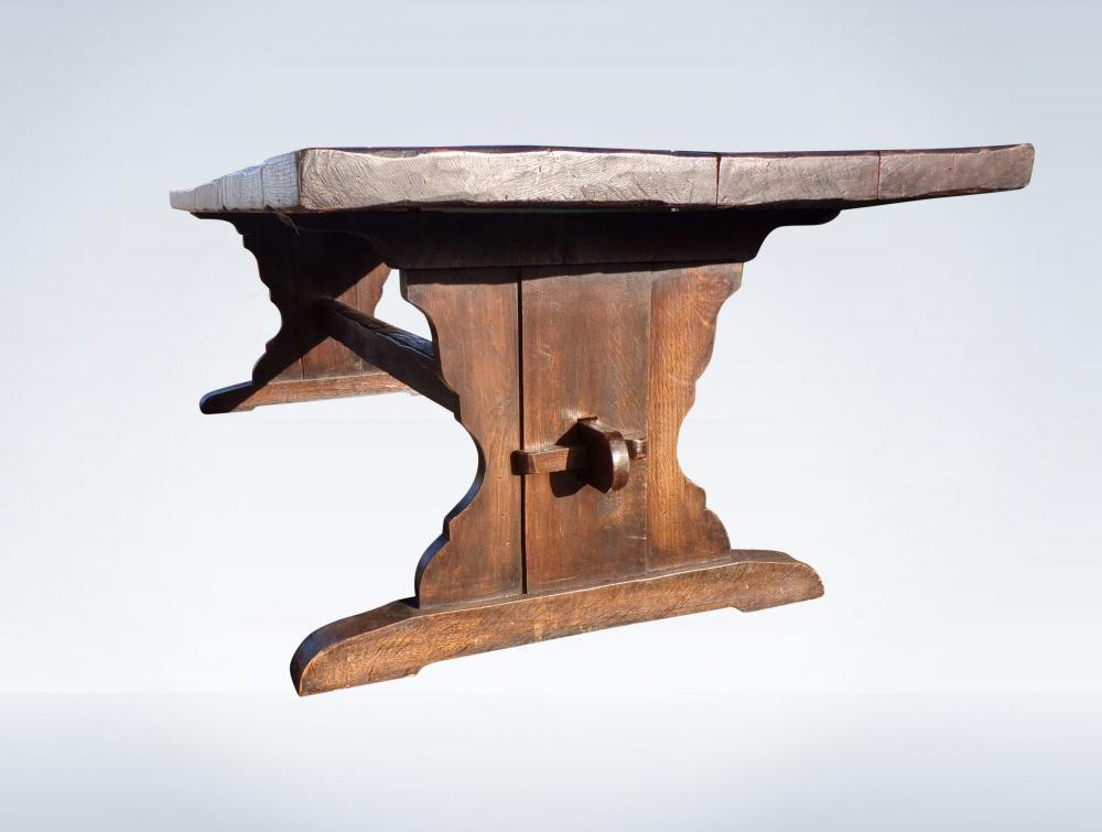 9ft 3 Metre Antique Oak Refectory Table With Trestle Pedestal Bases