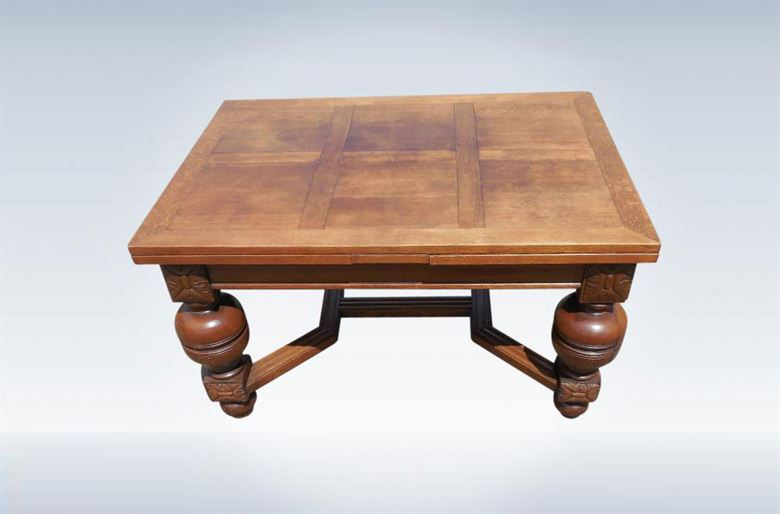 9ft Antique Oak Refectory Table With Drawleaf Ends In The Jacobean Taste
