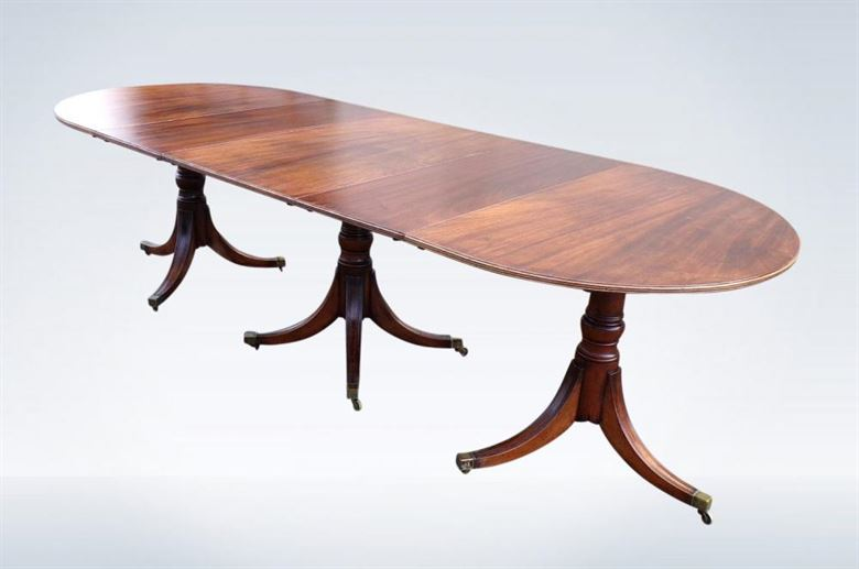 9ft Antique Regency Pedestal Dining Table