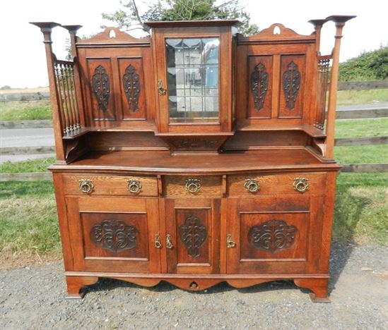 Arts Crafts Oak Sideboard - Large Late Victorian Oak Sideboard Of Liberty's  Arts Influence - ANTIQUE FURNITURE WAREHOUSE - Arts Crafts Oak Sideboard - Large Late