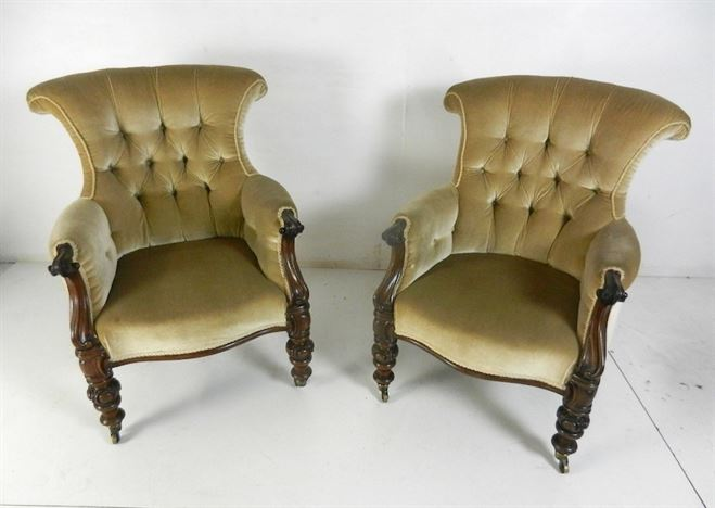 Beautiful Pair Of Late Regency Mahogany Library Drawing Room Armchairs