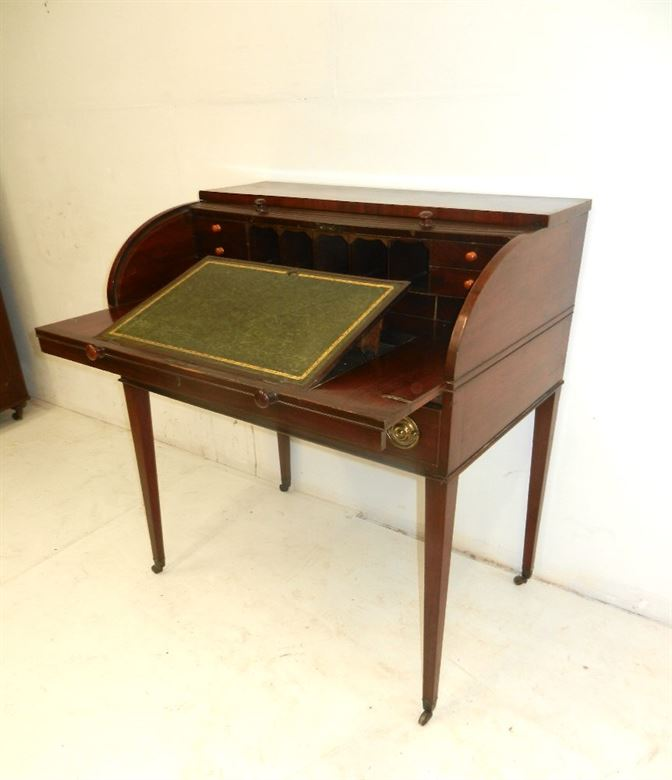 Charming Georgian Period Tambour Fronted Antique Writing Desk
