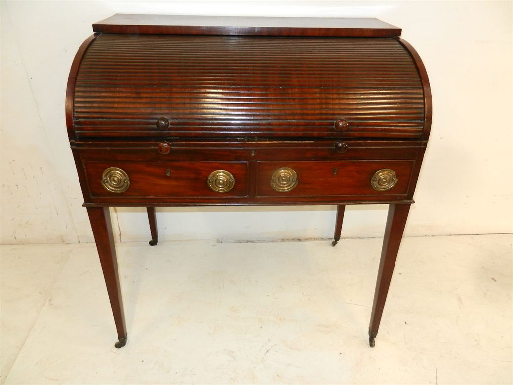 c mahogany cylinder desk writing antique victorian bureau products open english angle london front