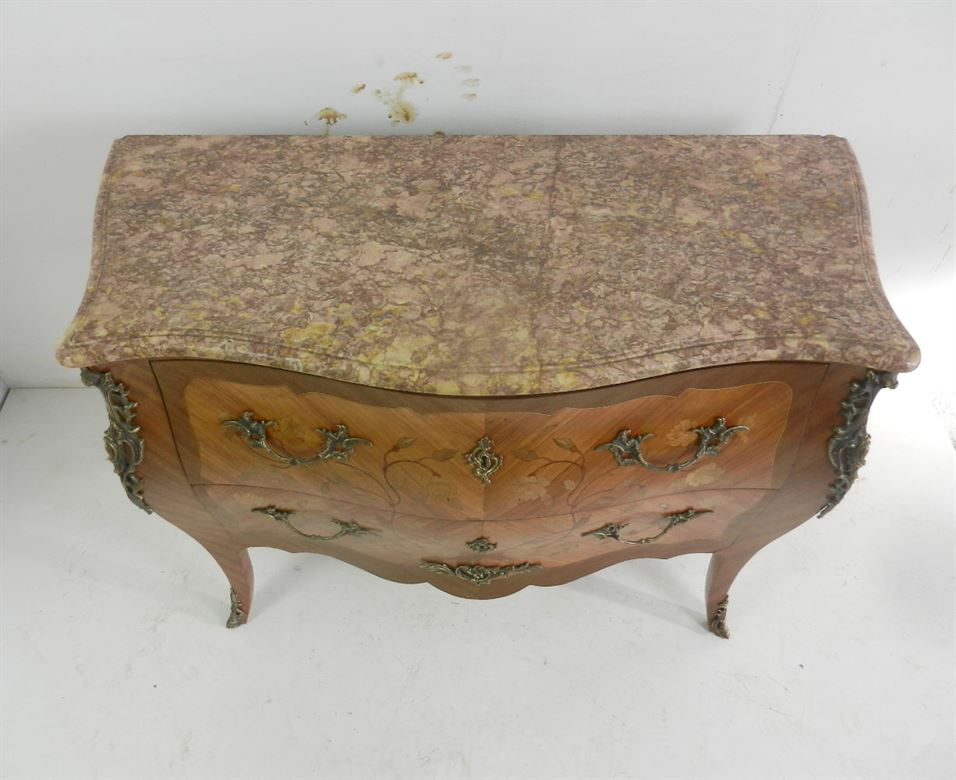 Delightful Late 19th Century Walnut And Marble Top Antique French Commode With Brass Ormolu Mounts