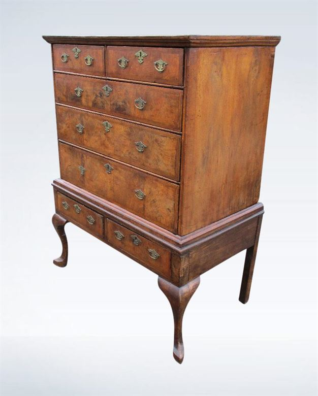 Antique Walnut Chest - Early 18th Century Queen Anne Walnut Chest On Stand